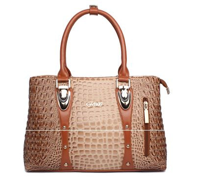 Ladies Crocodile Print  Multi tone Handbag - Beige