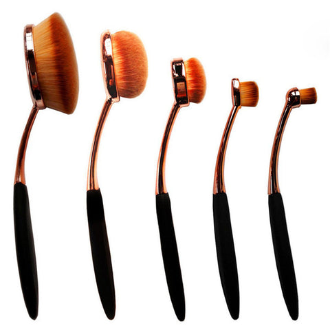 Toothbrush Shape Super Fine Hair Foundation Makeup Brush 5pc Set - Gold/Rose Gold