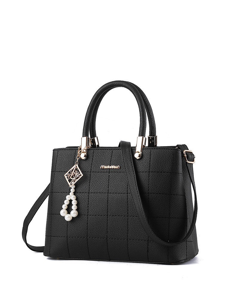 Ladies Cross Square Stitch Handbag - Black