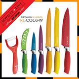 Royalty Line Steel Colourful Knife Set - 6 Piece Stainless + FREE BONUS (PEELER)