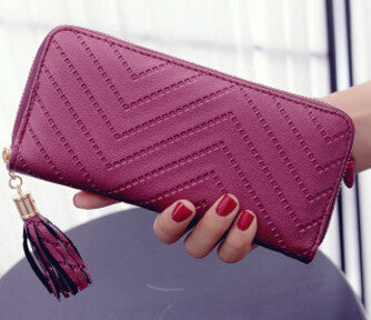 Ladies Zigzag Patterned Casual Wallet - Wine Red