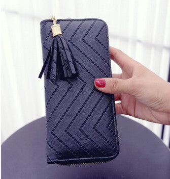Ladies Zigzag Patterned Casual Wallet - Black