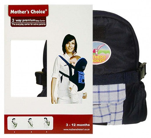 3 Position Baby Carrier - Designed for 3 -12 Months Old - Navy Checked
