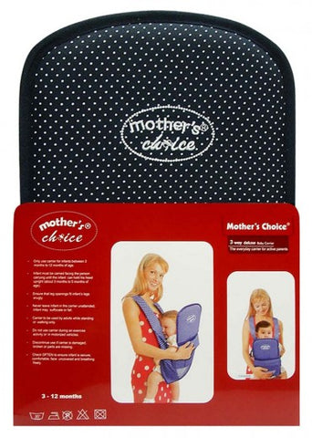 Deluxe 3 Position Baby Carrier - Designed for 3 -12 Months Old - Navy Dots