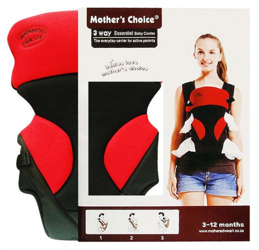 3 Position Baby Carrier - Designed for 3 - 12 Months Old - Red