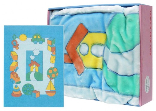 INFANTS CUTWORK BLANKET HOUSE BLUE
