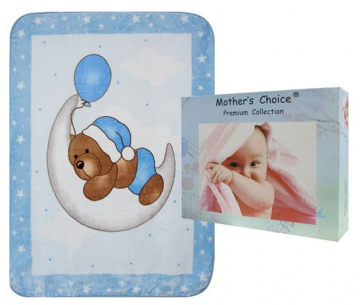 BEAR ON MOON MINK BLANKET BOX PACKED BLUE