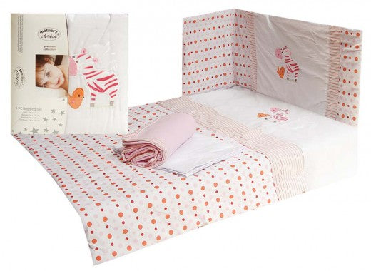 BABY 4 PIECE COT BEDDING SET PINK ZEBRA