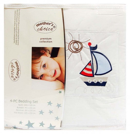 BABY 4 PIECE COT BEDDING SET BLUE BOAT