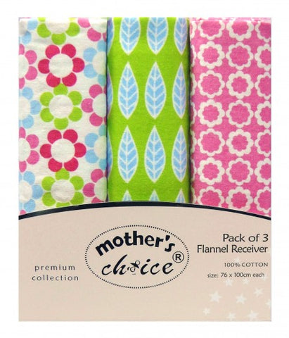 100% COTTON 3 PACK RECEIVING BLANKETS 'FLOWER'
