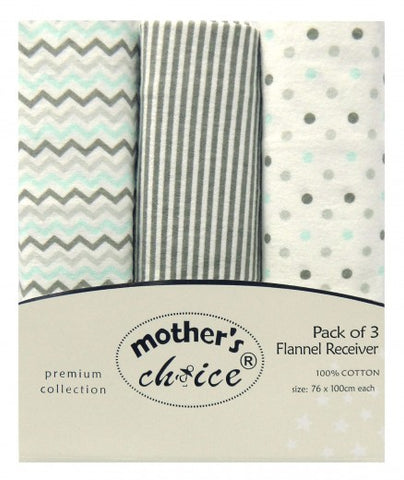 100% COTTON 3 PACK RECEIVING BLANKETS 'NEUTRAL'