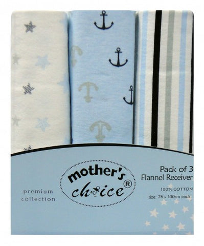 100% COTTON 3 PACK RECEIVING BLANKETS 'SAILOR'