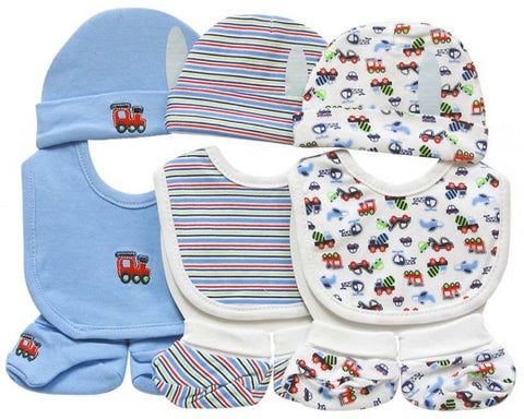9PC Beanie and Booties and Bibs (0-6 months) - Blue