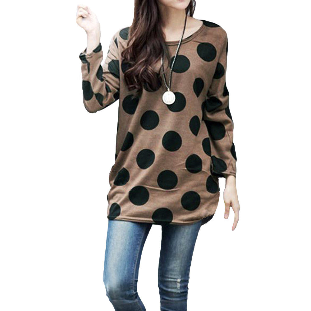 Retro Knitted Pull Over - One Size - Coffee Dots