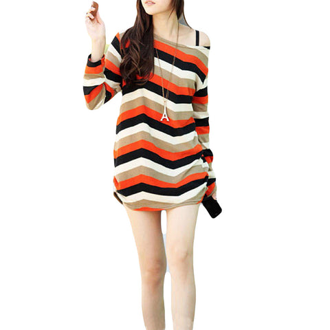 Retro Knitted Pull Over - One Size - Striped Orange