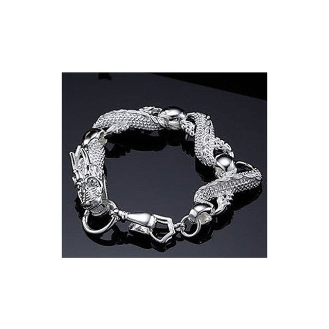 White Dragon Silver Plated Bracelet
