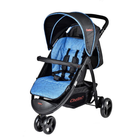 3 Wheel Strollers-3 Position Baby Stroller ,Baby Tray, Safety Harness, Shopping Basket - Blue