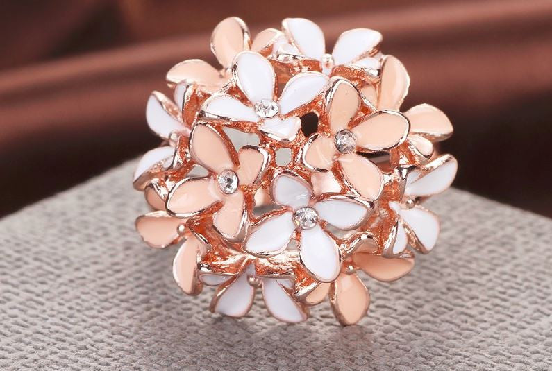 Pink Flower Enamel Rose Gold Ring