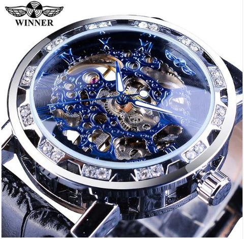 Automatic Skeleton Mechanical Watches Crystal Finish - Blue