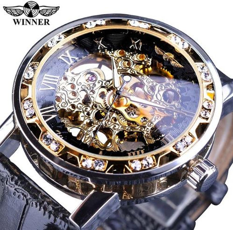 Automatic Skeleton Mechanical Watches Crystal Finish - Black Gold