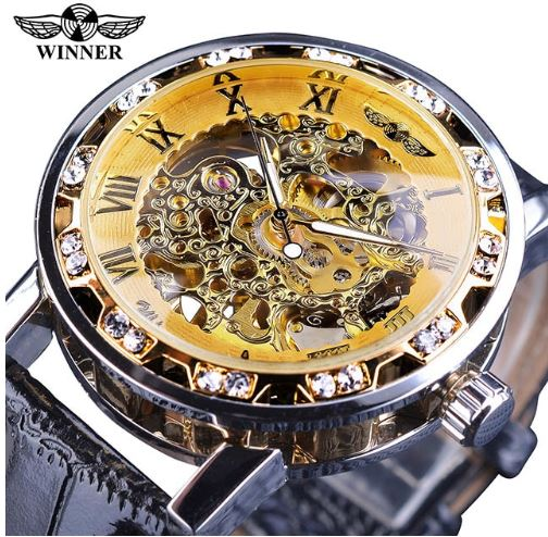 Automatic Skeleton Mechanical Watches Crystal Finish - Gold