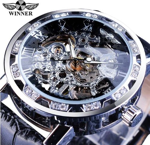 Automatic Skeleton Mechanical Watches Crystal Finish - Silver Black