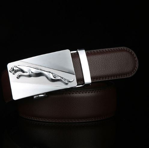 Leather Automatic Buckle Formal Belt - Brown