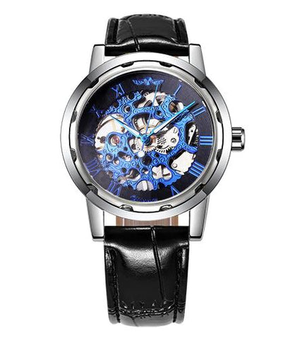 Automatic Skeleton Mechanical Watches -  Leather Band -Silver  Blue