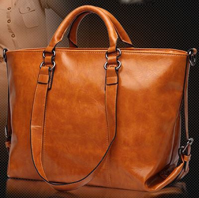 Genuine Leather Tote Handbag (Genuine Cow Hide)- Brown