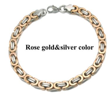 Men's Byzantines Stainless Steel Link Chain Bracelet 6mm - Rose Gold