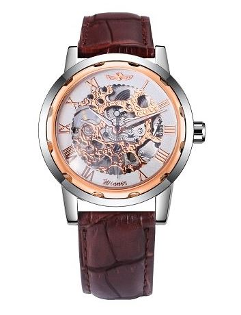 Automatic Skeleton Mechanical Watches - Brown Leather Band - Rose Gold White