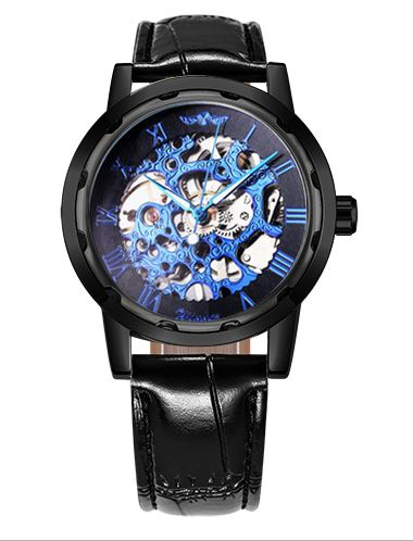 Automatic Skeleton Mechanical Watches - Black Leather Band - Blue Black