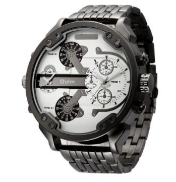 Men's Casual Military Dual Dial Watch -  Steel Belt - Black White