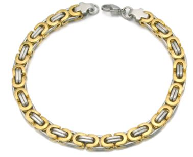 Men's Byzantines Stainless Steel Link Chain Bracelet 6mm - Gold & Silver