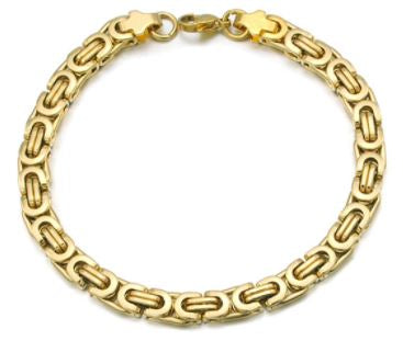 Men's Byzantines Stainless Steel Link Chain Bracelet 6mm - Gold