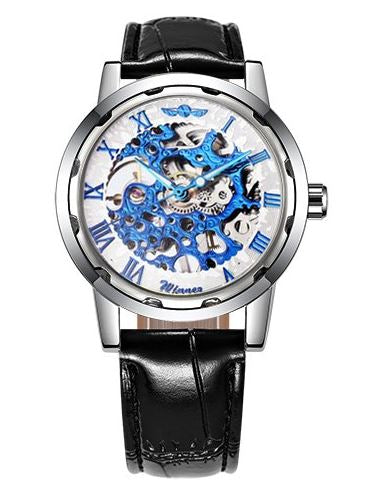 Automatic Skeleton Mechanical Watches - Black Leather Band - White Blue