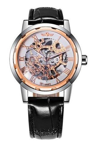 Automatic Skeleton Mechanical Watches - Black Leather Band - Rose Gold White