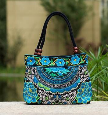 Ladies Floral Embroidered Bags - blue 2