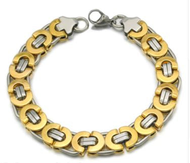 Men's Byzantines Stainless Steel Link Chain Bracelet 11mm - Gold Silver
