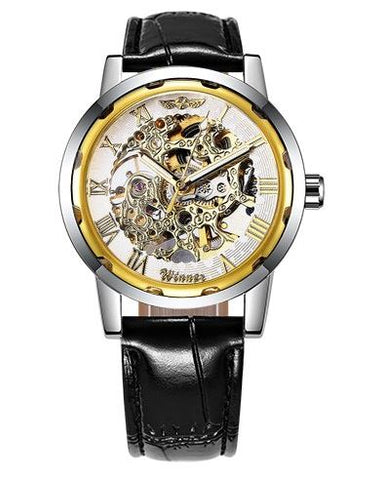 Automatic Skeleton Mechanical Watches - Black Leather Band - White Gold