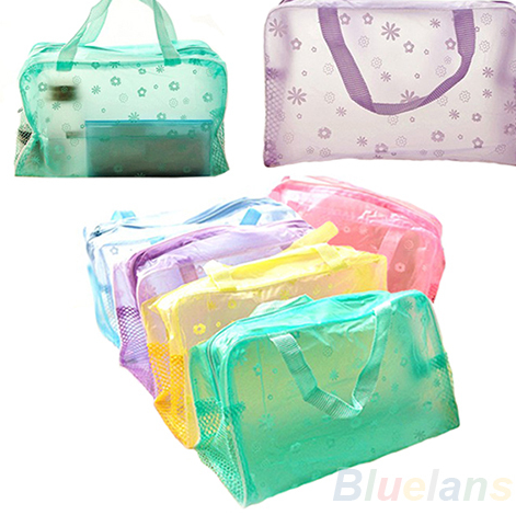 Floral Transparent Waterproof Make Up Bag