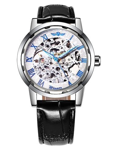 Automatic Skeleton Mechanical Watches - Black Leather Band - Blue White