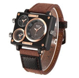 Men's Triple Dial Square WristWatch - Brown