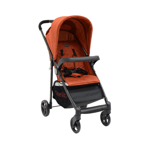 3 Position Baby Stroller ,Front Bar, 5 Point Safety Harness,Shopping Basket - Orange