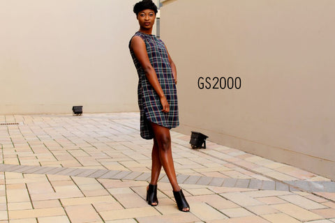 Ladies checked dress - Grey (GS2000)