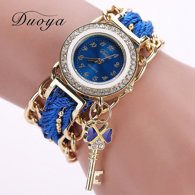 Ladies Key Charm Watch - blue