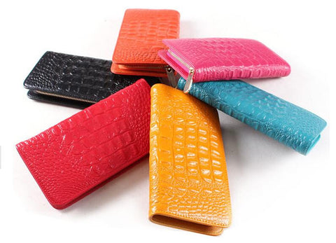 Crocodile Embossed Genuine Leather Ladies Wallet
