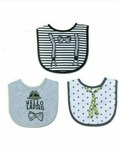 BOYS 3 PACK BIBS 'HELLO LADIES'