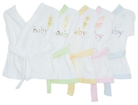 INFANTS BATH ROBES WHITE WITH ASSORTED TRIM 0-3 months