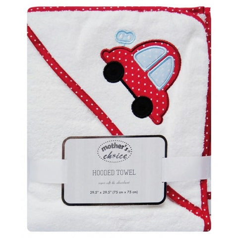 100% COTTON HOODED TOWEL 'RED CAR'